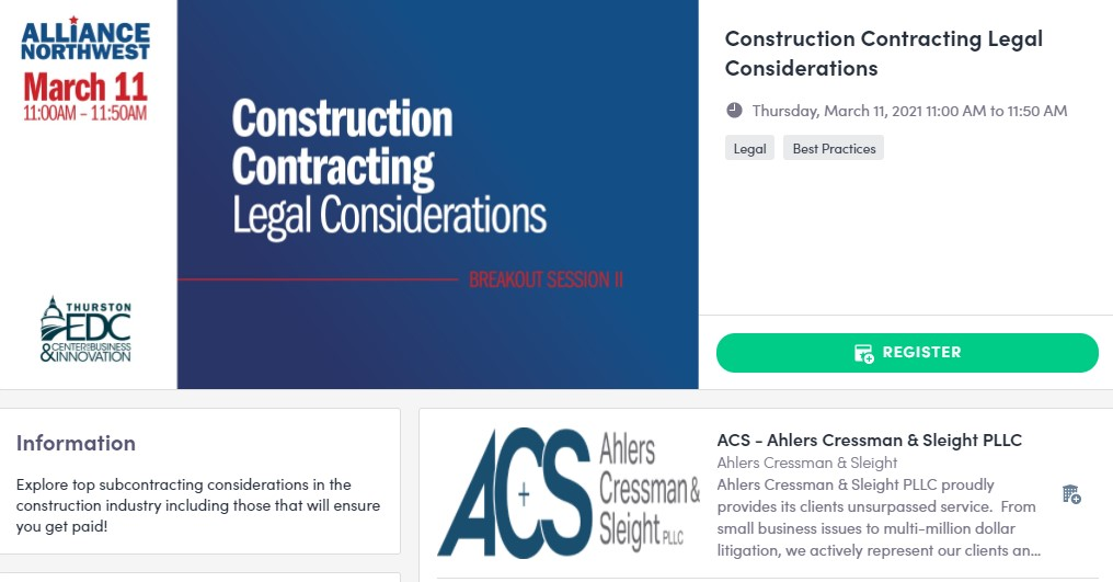 Join Ahlers Cressman & Sleight PLLC at Alliance Northwest on March 11, 2021